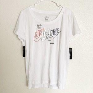 Nike White Tee T-Shirt Short Sleeves Dri-Fit Sz L
